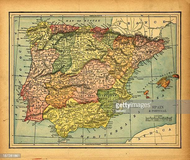 Carte vintage & Espagne et au portugal