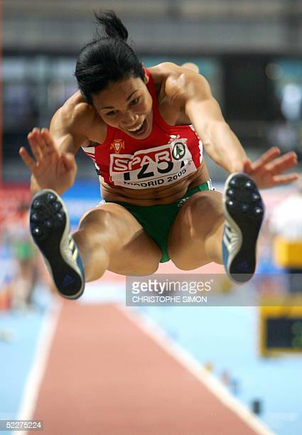 Portugese Naide Gomes competes during the women's long jump qualifications at the European Athletics Indoor Championships in Madrid 04 March 2005 AFP...