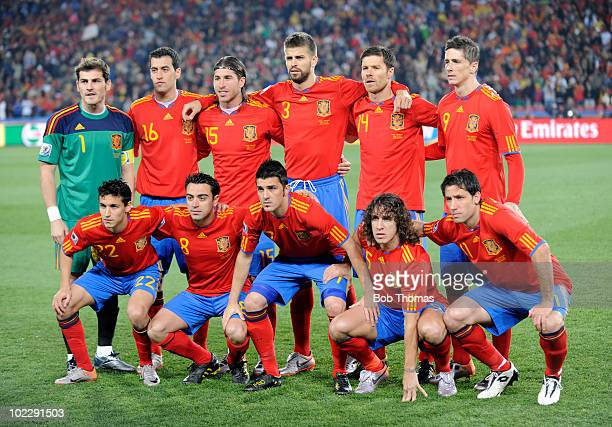Spain pose for a team group before the start of the 2010 FIFA World Cup South Africa Group H match between Spain and Honduras at Ellis Park Stadium...