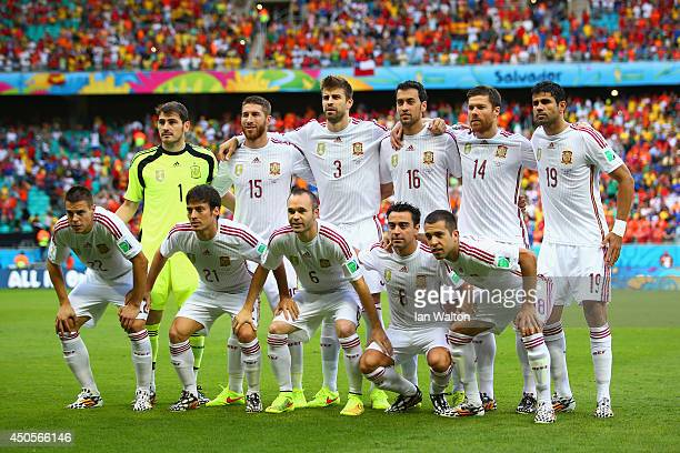 Spain pose for a team photo before the 2014 FIFA World Cup Brazil Group B match between Spain and Netherlands at Arena Fonte Nova on June 13 2014 in...