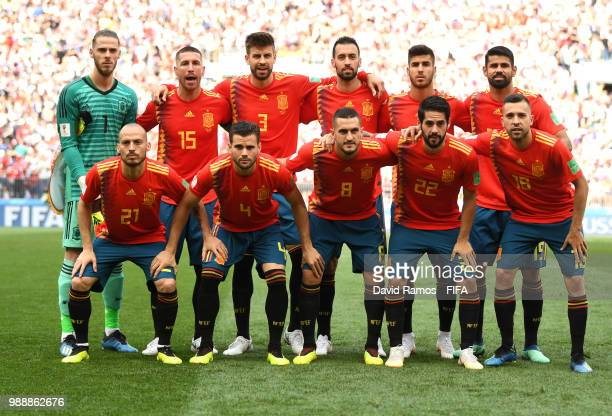 Spain pose for a team photo during the 2018 FIFA World Cup Russia Round of 16 match between Spain and Russia at Luzhniki Stadium on July 1 2018 in...