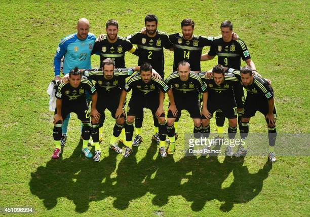 Spain pose for a team photo prior to the 2014 FIFA World Cup Brazil Group B match between Australia and Spain at Arena da Baixada on June 23 2014 in...