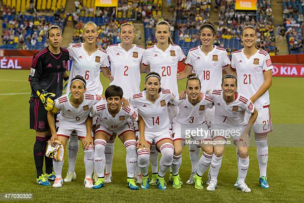 Spain poses for a team photo during the 2015 FIFA Women's World Cup Group E match at Olympic Stadium against Brazil on June 13 2015 in Montreal...