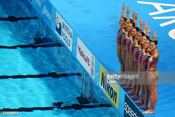 Spain prepare to compete in the Synchronized Swimming Team Technical final on day three of the 15th FINA World Championships at Palau Sant Jordi on...