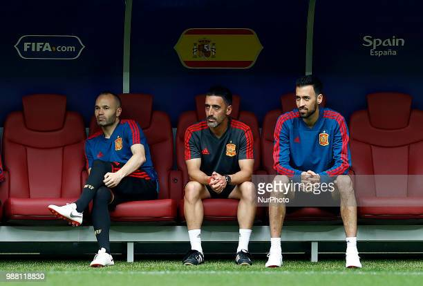 Spain press conference FIFA World Cup Russia 2018 Andrew Iniesta and Sergi Busquets at Luzhniki Stadium in Moscow Russia on June 30 2018