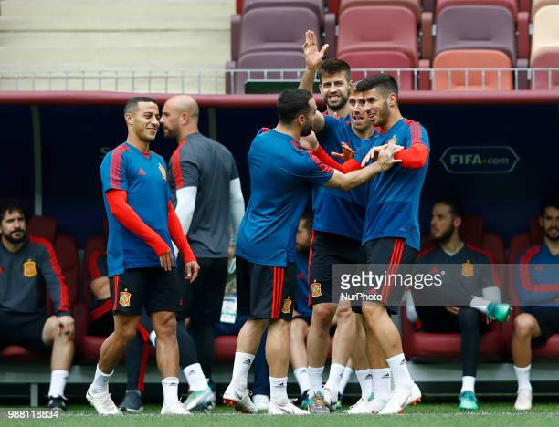 Spain press conference FIFA World Cup Russia 2018 David Carvajal with Gerard Pique Nacho Monreal and Marcos Asensio at Luzhniki Stadium in Moscow...