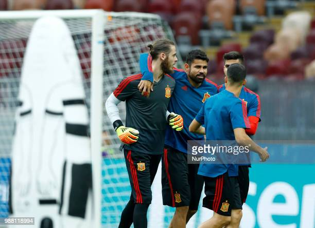 Spain press conference FIFA World Cup Russia 2018 David De Gea with Diego Costa at Luzhniki Stadium in Moscow Russia on June 30 2018