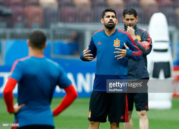 Spain press conference FIFA World Cup Russia 2018 Diego Costa with the Spain coach Fernando Hierro at Luzhniki Stadium in Moscow Russia on June 30...