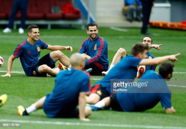 Spain press conference FIFA World Cup Russia 2018 Nacho with the teammates at Luzhniki Stadium in Moscow Russia on June 30 2018