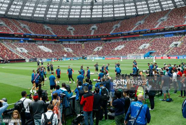 Spain press conference FIFA World Cup Russia 2018 Press on the pitch covering the training at Luzhniki Stadium in Moscow Russia on June 30 2018