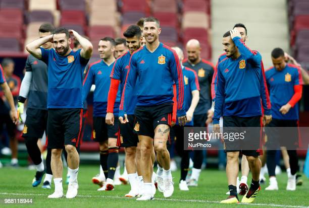 Spain press conference FIFA World Cup Russia 2018 Sergio Ramos leading the group on the pitch at Luzhniki Stadium in Moscow Russia on June 30 2018