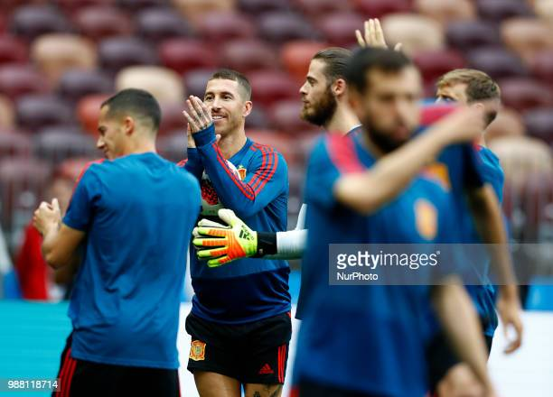 Spain press conference FIFA World Cup Russia 2018 Sergio Ramos with the teammates at Luzhniki Stadium in Moscow Russia on June 30 2018