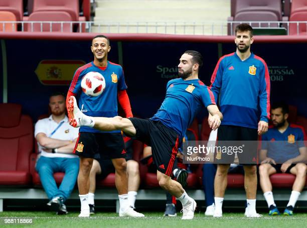 Spain press conference FIFA World Cup Russia 2018 Thiago Alcantara Daniel Carvajal and Gerard Pique at Luzhniki Stadium in Moscow Russia on June 30...
