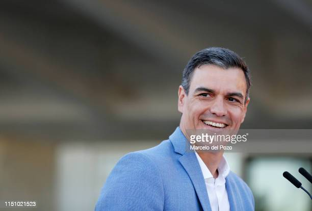 Spain Prime Minister and Socialist Workers' party leader Pedro Sanchez smiles as he attends an electoral meeting on May 22 2019 in Seville Spain...