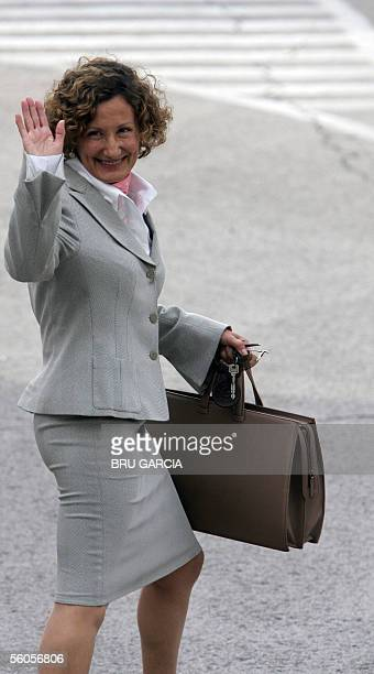 Princess Letizia's mother Paloma Rocasolano waves as she arrives to visit her daughter and new grandaughter Leonor at the Ruber clinic in Madrid 02...