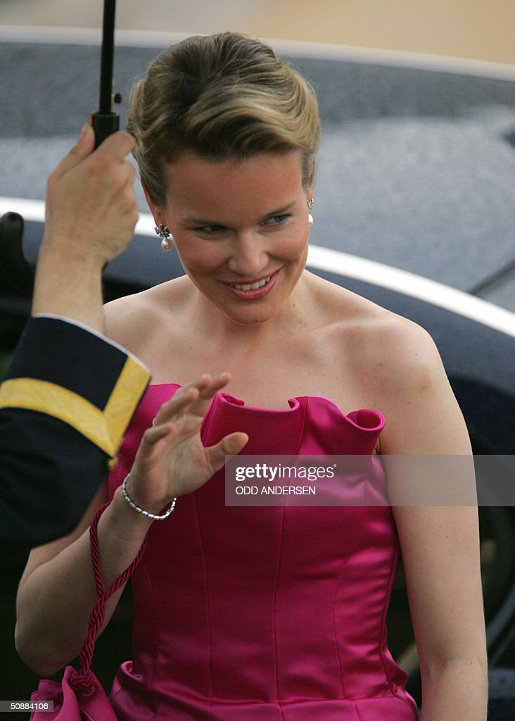 Princess Mathilde of Belgium smiles for : News Photo