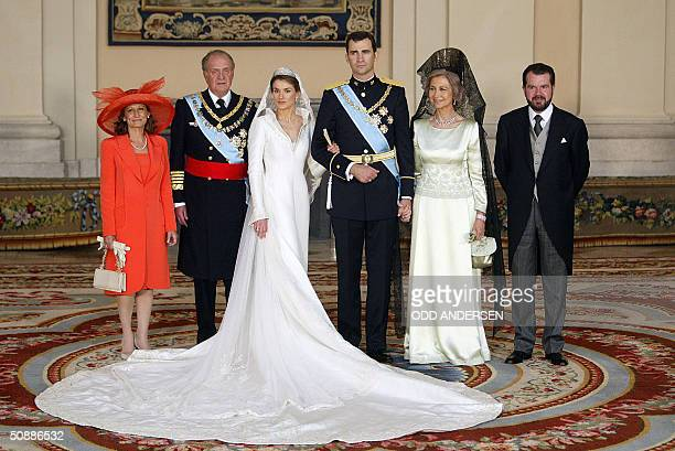 Princess of Asturias Letizia Ortiz and her husband Spanish Crown Felipe of Bourbon pose for the family photo with Letizia Ortiz' mother Paloma...