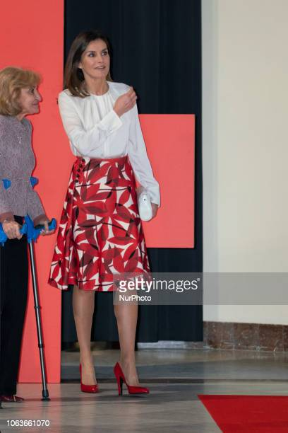 Spain Queen Letizia visits an exhibition during the main event to mark the centenary of the Nursing College and the St John and St Adela's Red Cross...