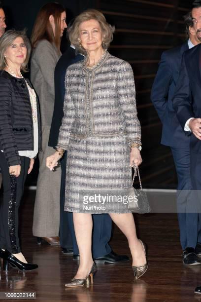 Spain Queen Sofia receives an award from ONCE during the 'Premios Solidarios 2018 de la ONCE Comunidad de Madrid' Awards at the Queen Sofia Museum in...