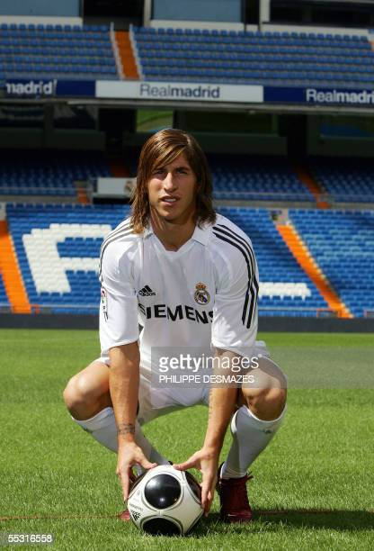 Real Madrid's new Spanish signing Sergio Ramos is presented to the press at the Santiago Bernabeu stadium in Madrid 08 September 2005 Ramos formerly...