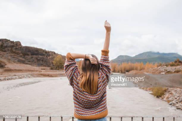 spain, rear view of happy young woman in ordesa national park - femme brune de dos photos et images de collection