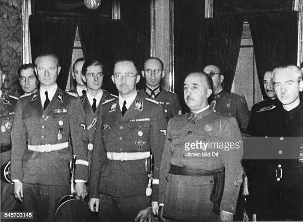 Spain Reception for Nazi leader and head of the SS Heinrich Himmler by General Francisco Franco y Bahamonde in the Royal Palace of El Pardo near...