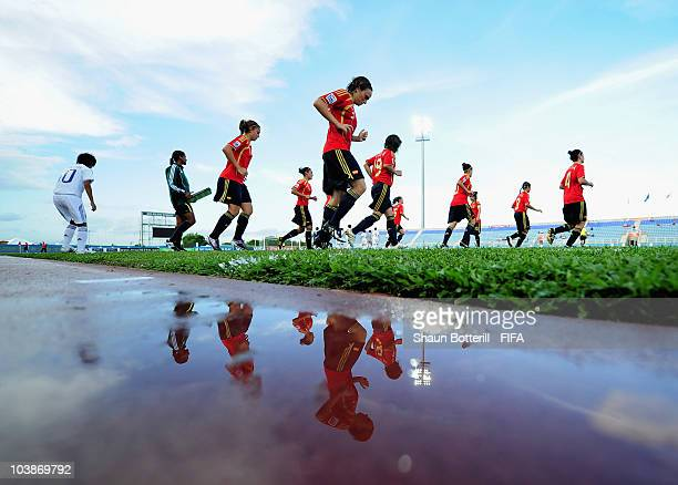 Spain return to the pitch after halftime during the FIFA U17 Women's World Cup Group C match between Spain and Japan at the Ato Boldon Stadium on...