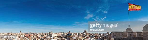 Spanien auf dem Dach, Stadt panorama flags Sehenswürdigkeiten Valencia