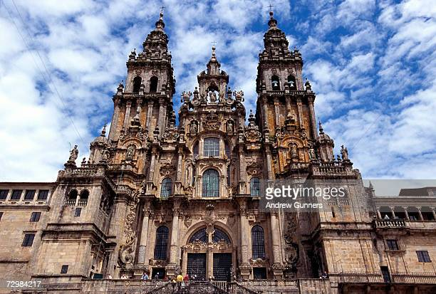 spain, santiago de compostela cathedral, low angle view - santiago de compostela stock pictures, royalty-free photos & images