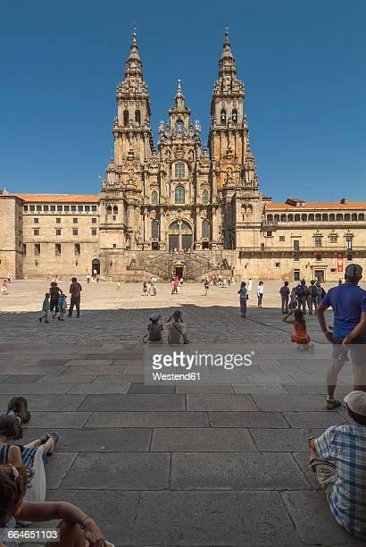 Spain, Santiago de Compostela, The Way of St James, Plaza de Praterias and Cathedral