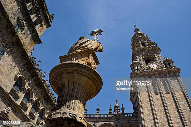 spain, santiago de compostela, the way of st james,plaza de praterias and cathedral - santiago de compostela fotografías e imágenes de stock