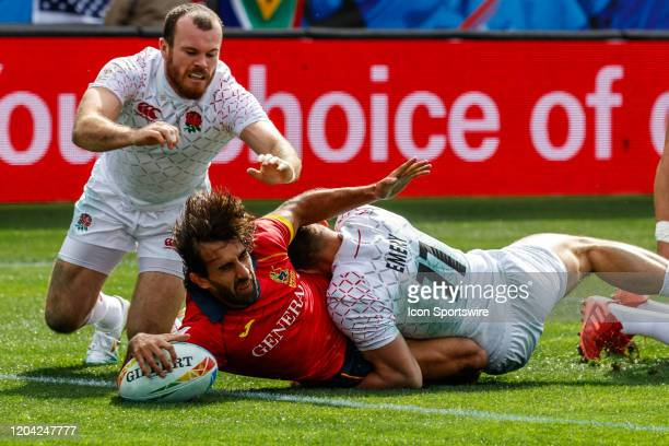 Spain scores despite efforts of Tom Emery of England in Match England vs Spain during the LA Sevens Round 5 of the HSBC World Rugby Sevens Series...