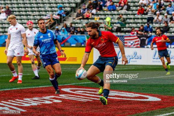 Spain scores in Match England vs Spain during the LA Sevens Round 5 of the HSBC World Rugby Sevens Series held February 29 2020 at Dignity Health...