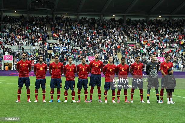 Spain sings their national anthem during the Men's Football first round Group D match between Spain and Honduras on Day 2 of the London 2012 Olympic...