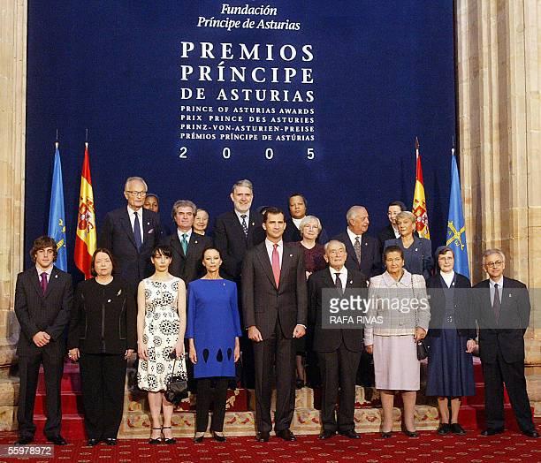 Spain's Prince Felipe de Borbon poses for photographers with the Prince of Asturias award winners Sports award winner Spanish driver Fernando Alonso...