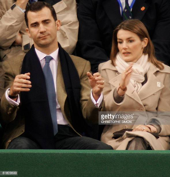Spanish Crown Prince Felipe and his wife Princess Letizia attend at La Cartuja Olympic stadium the Davis Cup final doubles match facing US pair Bob...