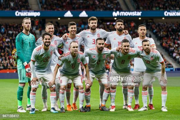 Spain squad pose for team photo during the International Friendly 2018 match between Spain and Argentina at Wanda Metropolitano Stadium on 27 March...