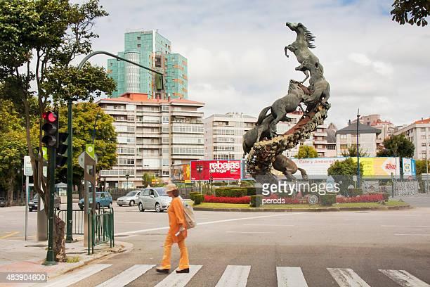 spain square in downtown vigo, galicia, spain. - vigo stock pictures, royalty-free photos & images