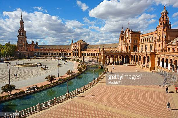 spain square in seville - seville stock pictures, royalty-free photos & images