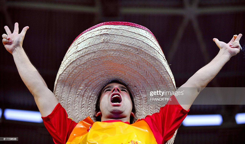 A Spain supporter wearing a sombrero gestures and cheers before the start of the Euro 2008 championships semi-final football match Russia vs. Spain on June 26, 2008 at Ernst-Happel stadium in Vienna, Austria.