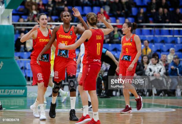 Spain team celebrate the score during Group F 2019 FIBA EuroBasket Women qualifiers match between pain and Ukraine played at Sport Palace Arena in...