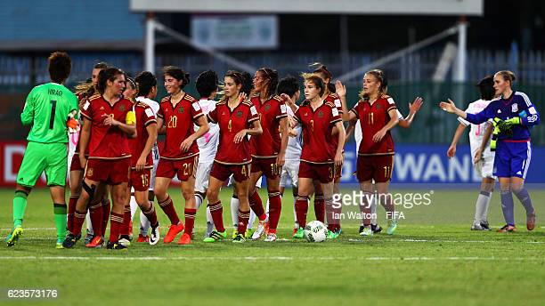 Spain team celebrates after winning the FIFA U20 Women's World Cup Group B match between Spain and Japan at Bava Park on November 16 2016 in Port...