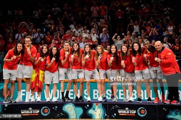 Spain team celebrates on the podium with their bronze medal after the FIBA 2018 Women's Basketball World Cup final match between Australia and United...
