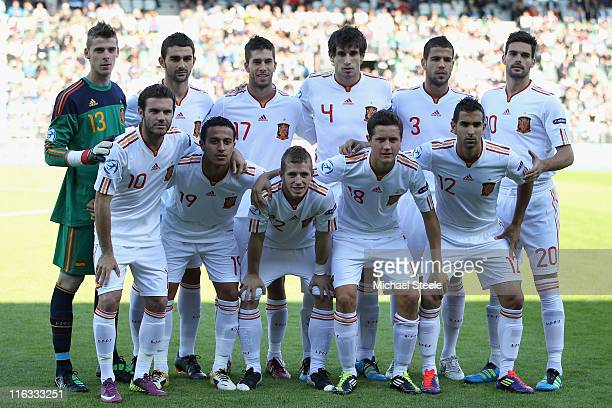 Spain team group during the UEFA European Under21 Championship Group B match between Czech Republic and Spain at the Viborg Stadium on June 15 2011...