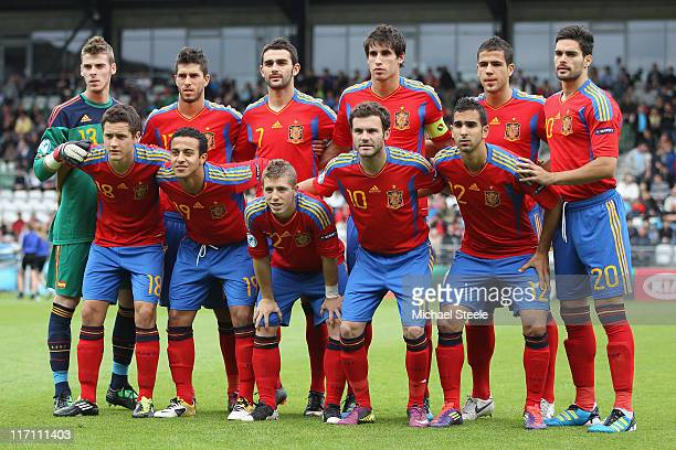 Spain team group during the UEFA European Under21 Championship semifinal match between Belarus and Spain at the Viborg Stadium on June 22 2011 in...
