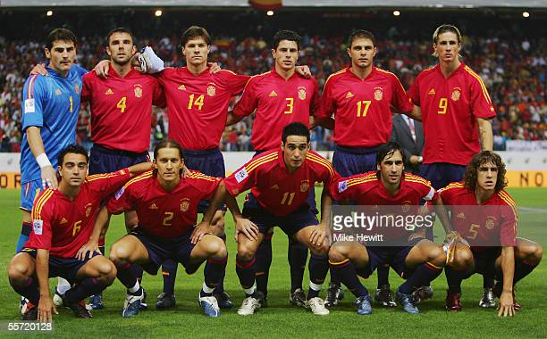 Spain team line up prior to the FIFA World Cup Group 7 qualifying match between Spain and Serbia & Montenegro at the Vicente Calderon stadium on...
