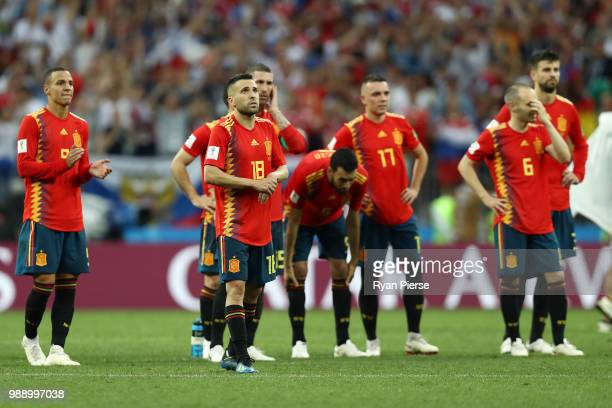 Spain team react following team mate Koke missing his side's third penalty in the penalty shoot out during the 2018 FIFA World Cup Russia Round of 16...