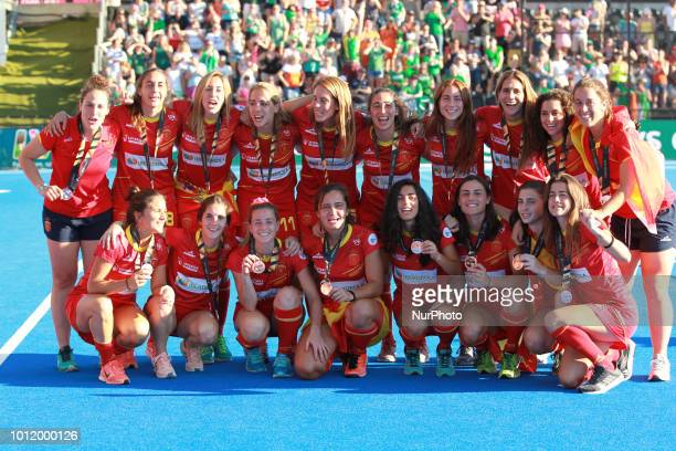 Spain Team with bronze medals during FIH Hockey Women's World Cup 2018 Day 14 match Bronze Medal game 35 between Netherlands and Ireland at Lee...