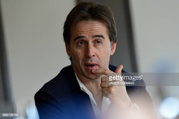 Spain team's coach Julen Lopetegui speaks during a work breakfast at Spain's Sports City in Las Rozas near Madrid on April 17 2018 Less than a month...
