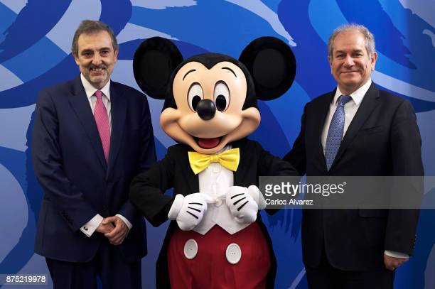 Spain Telefonica President Luis Miguel Gilperez and CEO of The Walt Disney Company in Spain an Portugal Simon Amselem present the Disney and...